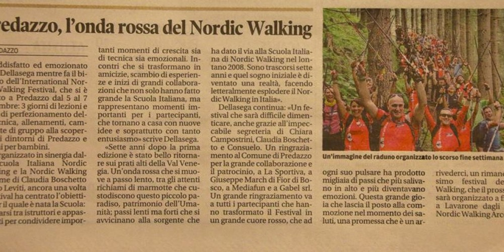Predazzo, l'onda rossa del Nordic Walking